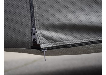 Zipper entry doors have vertical and horizontal zippers